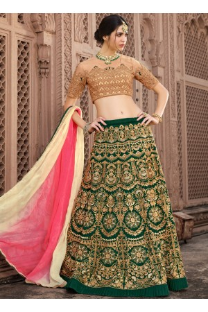 Green and beige banglori silk wedding lehenga choli