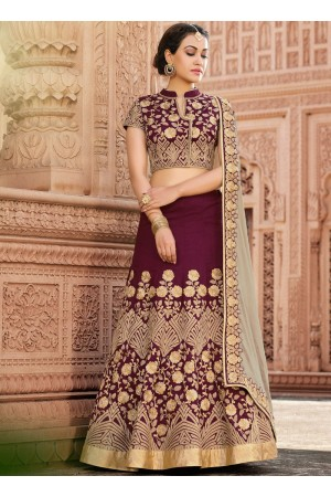 Wine color Tora wedding lehenga choli