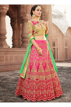 Pink and beige banarasi silk wedding lehenga choli
