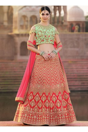 Peach and pista green banglori silk wedding lehenga choli