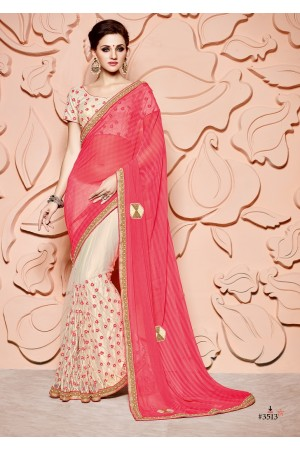 Pink and off white chiffon wedding wear saree
