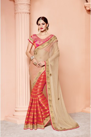 Gold and red banarasi silk wedding wear saree