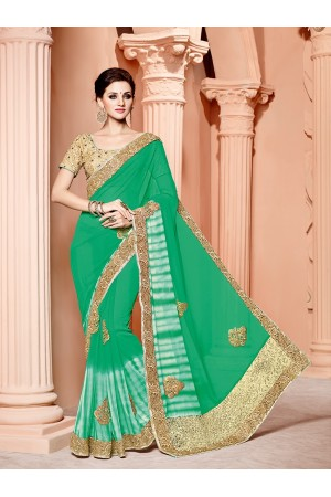 Green Bemberg georgette wedding wear saree