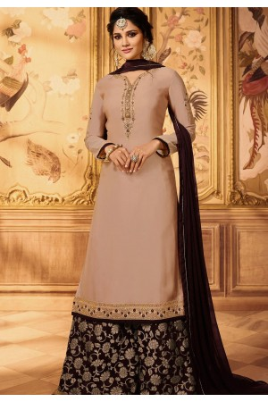 beige embroidered satin georgette sharara style pakistani suit 15605