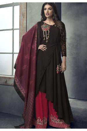 black dark pink maslin palazzo style pakistani suit 711