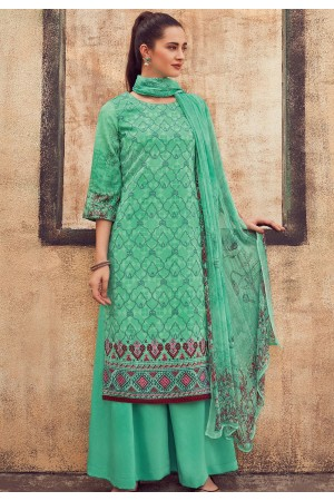 blue cotton satin embroidered daman work and digital printed palazzo suit 9039