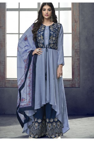 blue shade maslin palazzo jacket style pakistani suit 716