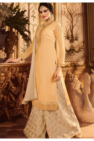 cream embroidered satin georgette sharara style pakistani suit 15602