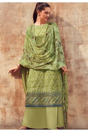 green cotton satin embroidered daman work and digital printed palazzo suit 9032