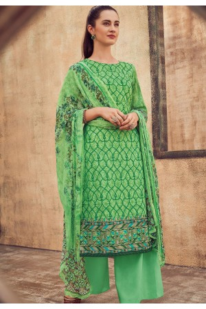 green cotton satin embroidered daman work and digital printed palazzo suit 9033