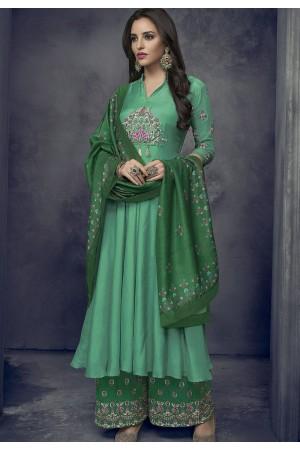 green maslin palazzo style pakistani suit 715