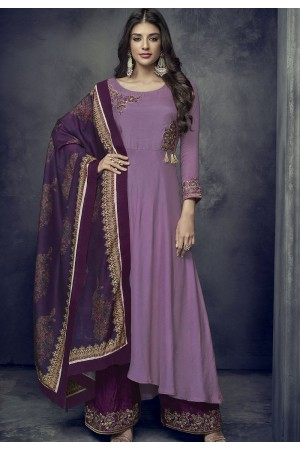 mauve maslin palazzo style embroidered pakistani suit 712