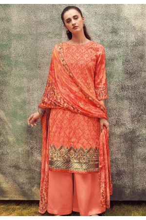peach cotton satin embroidered daman work and digital printed palazzo suit 9031