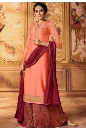 peach embroidered satin georgette sharara style pakistani suit 15606