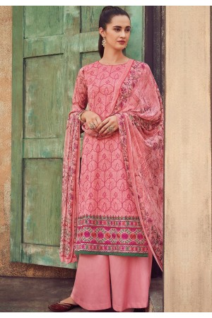 pink cotton satin embroidered daman work and digital printed palazzo suit 9040