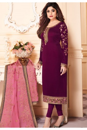 shamita shetty purple georgette embroidered churidar suit 8139