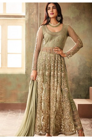 sonal chauhan green net embroidered designer anarkali suit 6704