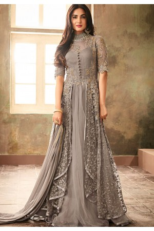 sonal chauhan grey net embroidered designer anarkali suit 6707