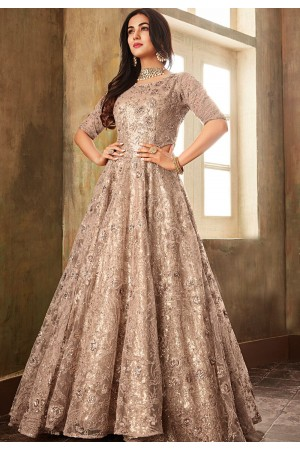 sonal chauhan grey shade net embroidered designer anarkali suit 6705