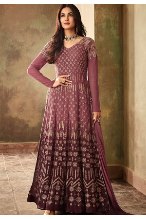 sonal chauhan mauve georgette embroidered designer anarkali suit 6706