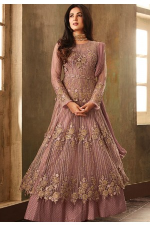 sonal chauhan mauve net embroidered heavy anarkali suit 6702