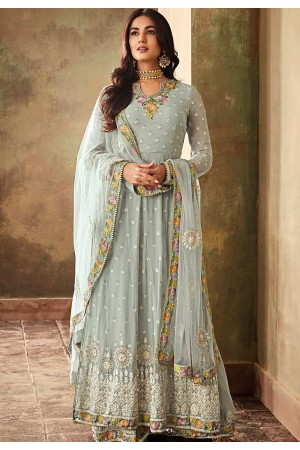 sonal chauhan sky blue georgette embroidered designer anarkali suit 6703