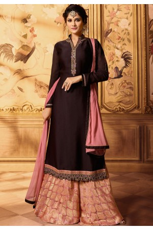 wine embroidered satin georgette sharara style pakistani suit 15604