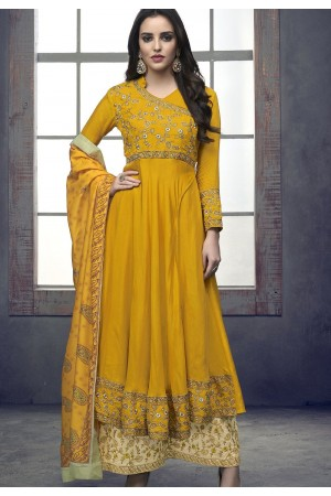 yellow maslin palazzo style embroidered pakistani suit 713