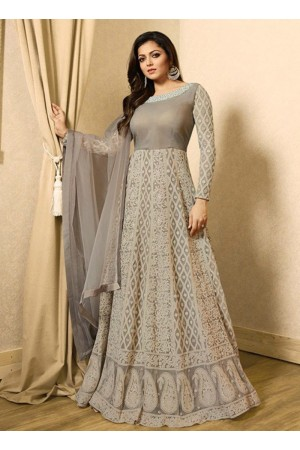 Drashti Dhami grey color net party wear anarkali