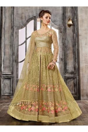 Beige color net wedding wear Ghagra Choli