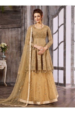 Beige color net wedding wear suit