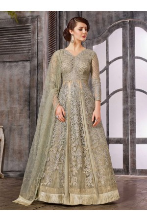 Grey color net wedding wear Ghagra Choli