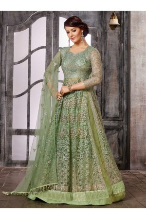Light Green color net wedding wear Ghagra Choli