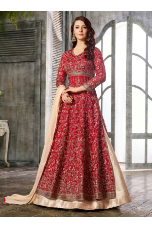 Red color Albela Satin wedding wear Ghagra Choli