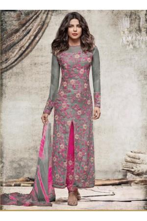 Priyanka Chopra Party wear Suit in Grey color