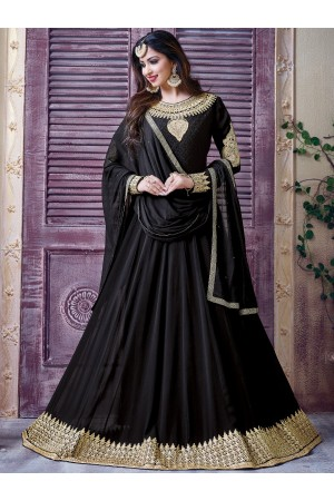 Black color georgette party wear anarkali kameez