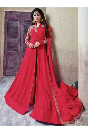 Dark pink color georgette party wear anarkali kameez