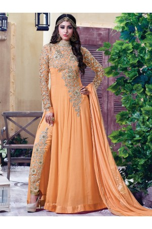 Light orange color georgette party wear anarkali kameez
