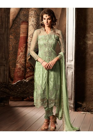 Mint green color net straight cut kameez