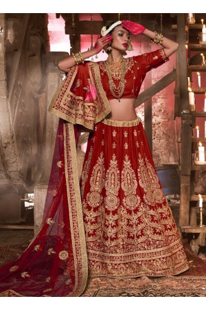maroon-velvet-wedding-wear-patch-work-a-line-lehenga-344