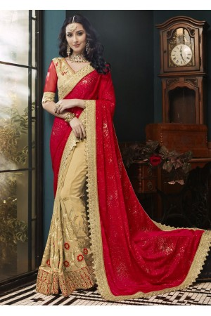 Beige Faux Georgette Embroidered Saree 5004
