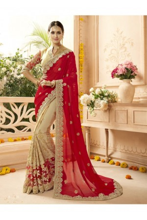 Beige Georgette Net Embroidered Bridal Saree 1116