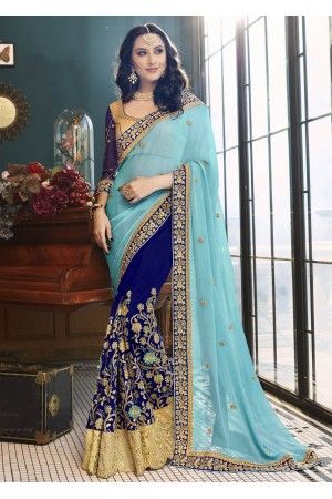 Blue Faux Georgette Embroidered Saree 5005