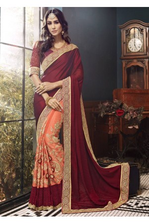 Orange Faux Georgette Embroidered Saree 5003