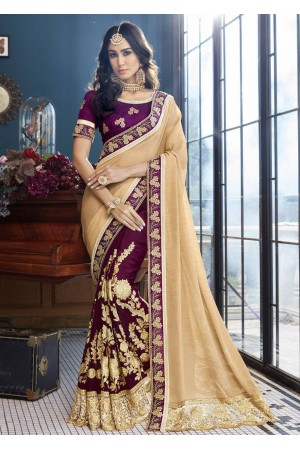 Purple Faux Georgette Embroidered Saree 5002