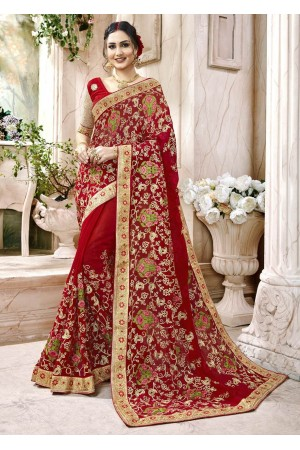 Red Faux Georgette Traditional Embroidered Saree 7508