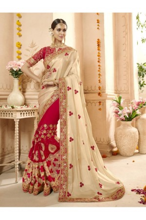 Red Georgette Net Embroidered Bridal Saree 1114