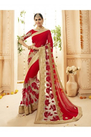Red Georgette Net Embroidered Bridal Saree 1115