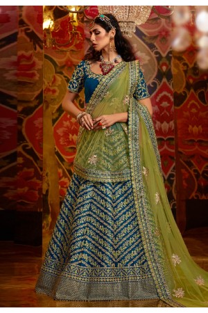 Blue raw silk circular lehenga choli 5179