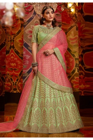 Green raw silk circular lehenga choli 5178